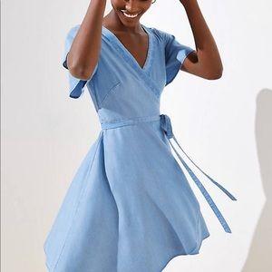 LOFT chambray wrap dress 👗